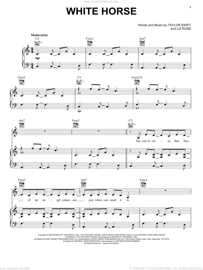 White Horse sheet music for voice, piano or guitar by Taylor Swift and Liz Rose, intermediate skill level