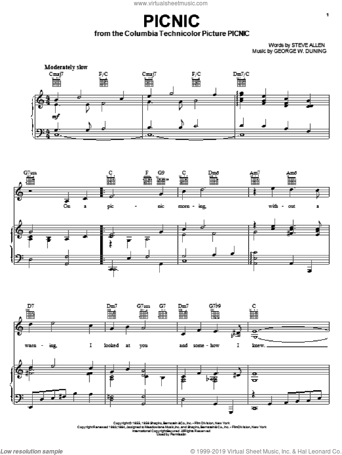 Picnic sheet music for voice, piano or guitar by Steve Allen, Andy Williams, McGuire Sisters and George W. Duning, intermediate skill level