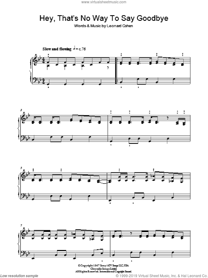 Hey, That's No Way To Say Goodbye sheet music for piano solo by Leonard Cohen, intermediate skill level