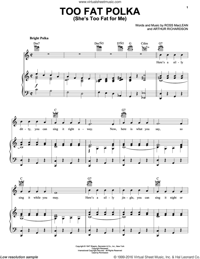 Too Fat Polka (She's Too Fat For Me) sheet music for voice, piano or guitar by The Andrews Sisters, Andrews Sisters, Arthur Richardson and Ross MacLean, intermediate skill level
