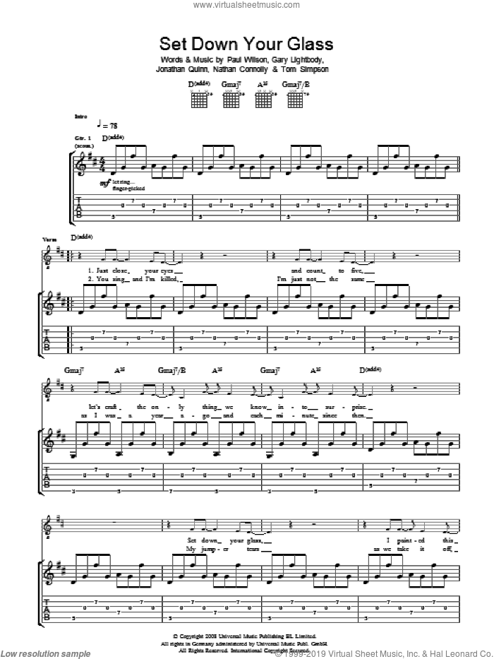 Set Down Your Glass sheet music for guitar (tablature) by Snow Patrol, Gary Lightbody, Jonathan Quinn, Nathan Connolly, Paul Wilson and Tom Simpson, intermediate skill level