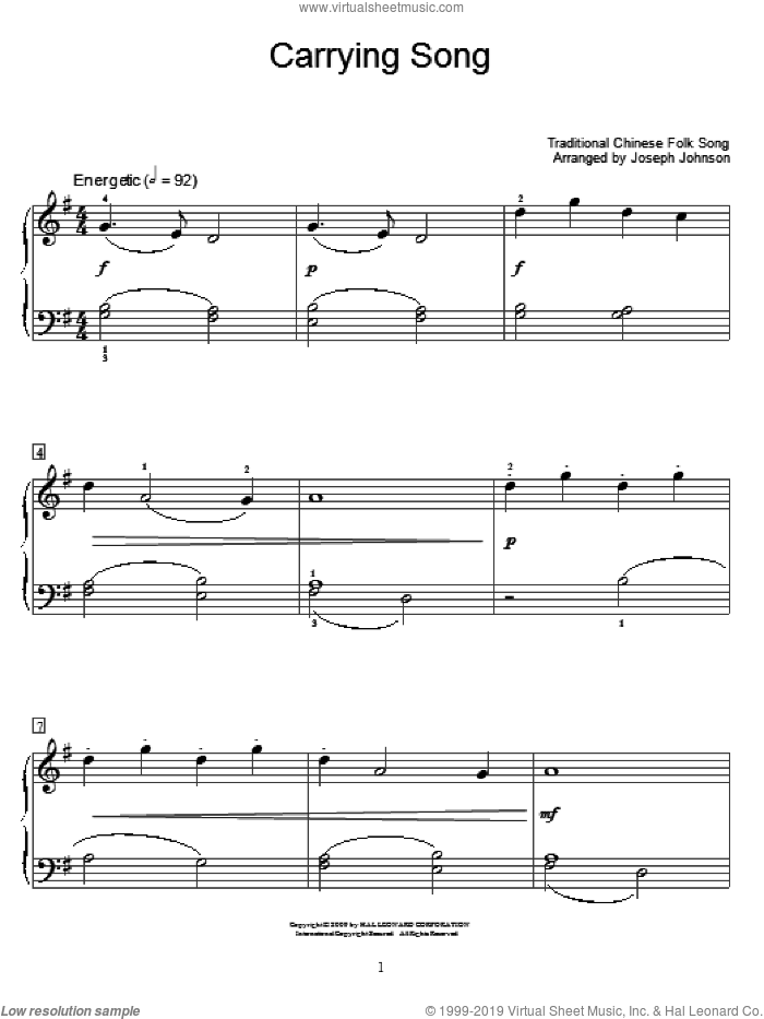 Carrying Song sheet music for piano solo (elementary)  and Joseph Johnson, beginner piano (elementary)
