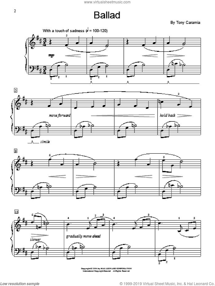 Ballad sheet music for piano solo (elementary) by Tony Caramia and Miscellaneous, beginner piano (elementary)