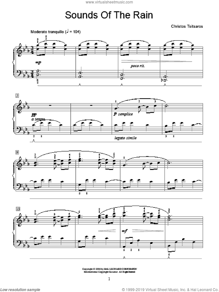 Sounds Of The Rain sheet music for piano solo (elementary) by Christos Tsitsaros and Miscellaneous, classical score, beginner piano (elementary)