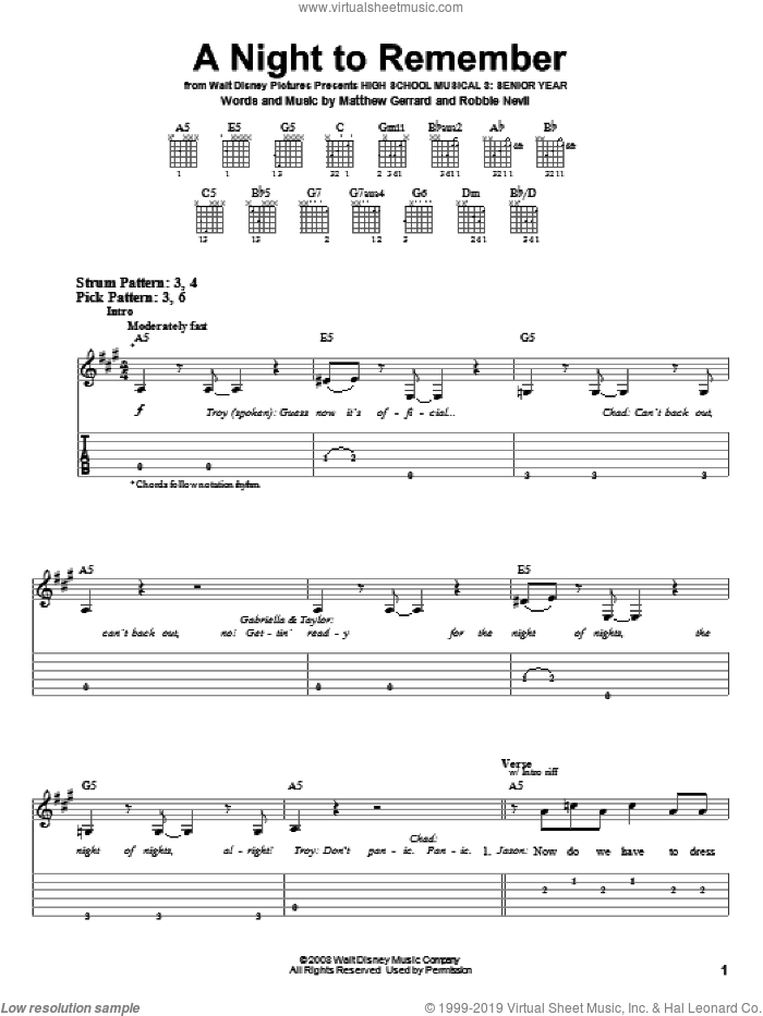 A Night To Remember sheet music for guitar solo (easy tablature) by High School Musical 3, Matthew Gerrard and Robbie Nevil, easy guitar (easy tablature)