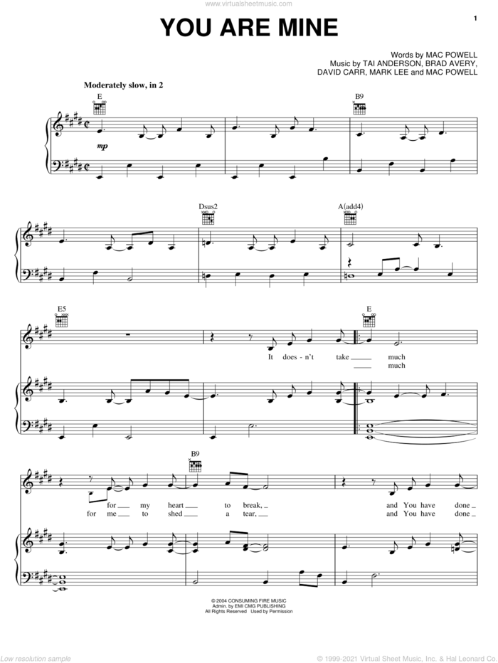 You Are Mine sheet music for voice, piano or guitar by Third Day, Brad Avery, David Carr, Mac Powell, Mark Lee and Tai Anderson, intermediate skill level