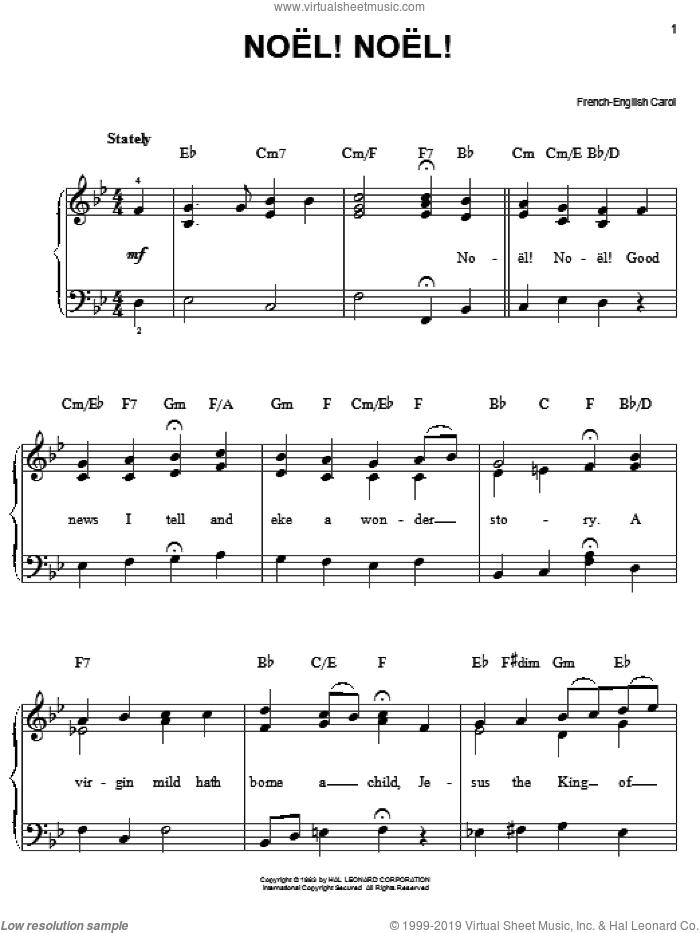 Noel! Noel! sheet music for piano solo, easy skill level