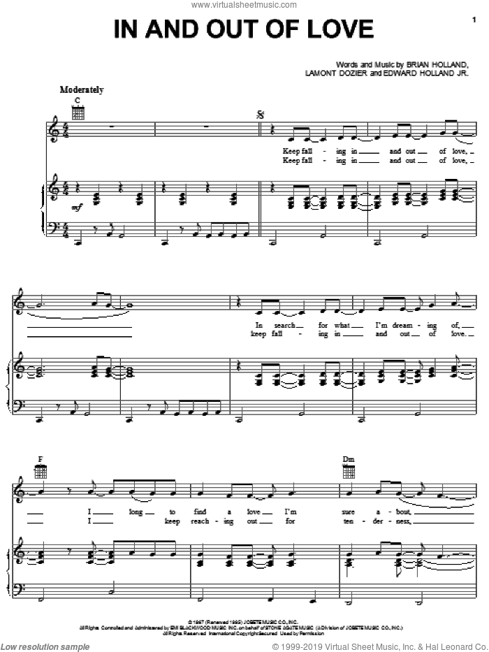 In And Out Of Love sheet music for voice, piano or guitar by The Supremes, Diana Ross, Brian Holland, Edward Holland Jr. and Lamont Dozier, intermediate skill level
