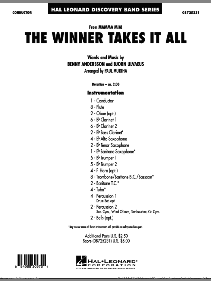The Winner Takes It All (from 'Mamma Mia!', the motion picture sheet music for concert band (full score) by Benny Andersson, Bjorn Ulvaeus, Miscellaneous, ABBA and Paul Murtha, intermediate skill level