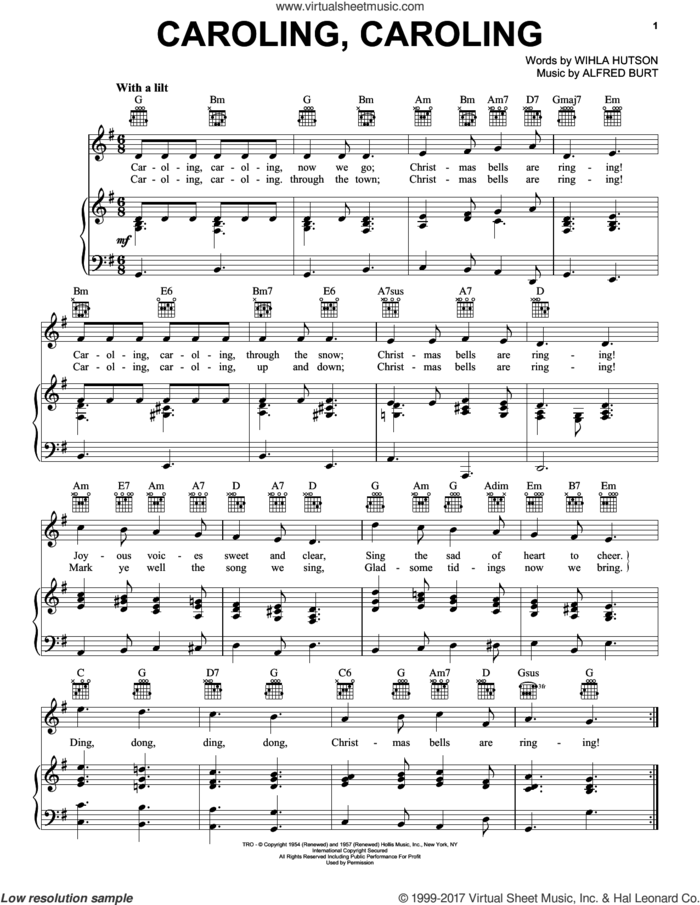 Caroling, Caroling sheet music for voice, piano or guitar by Nat King Cole, Alfred Burt and Wihla Hutson, intermediate skill level