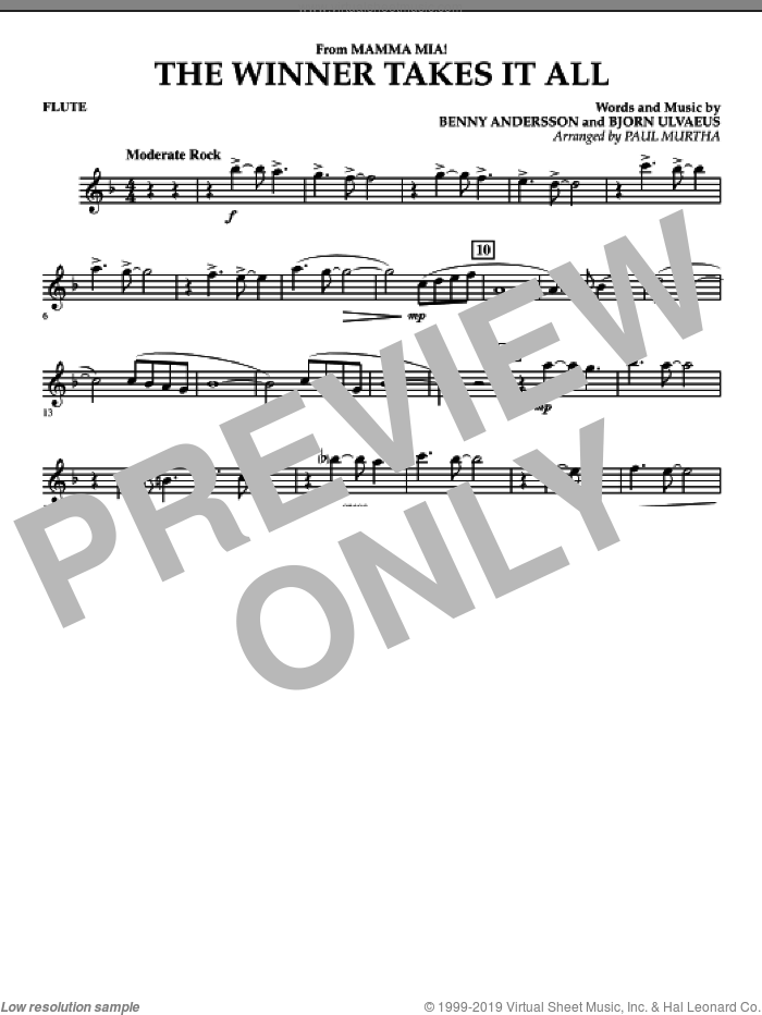The Winner Takes It All (from 'Mamma Mia!', the motion picture sheet music for concert band (flute) by Benny Andersson, Bjorn Ulvaeus, Miscellaneous, ABBA and Paul Murtha, intermediate skill level