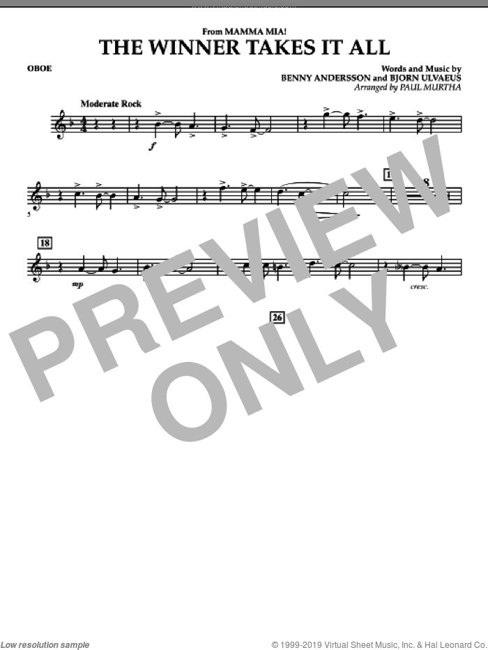 The Winner Takes It All (from 'Mamma Mia!', the motion picture sheet music for concert band (oboe) by Benny Andersson, Bjorn Ulvaeus, Miscellaneous, ABBA and Paul Murtha, intermediate skill level