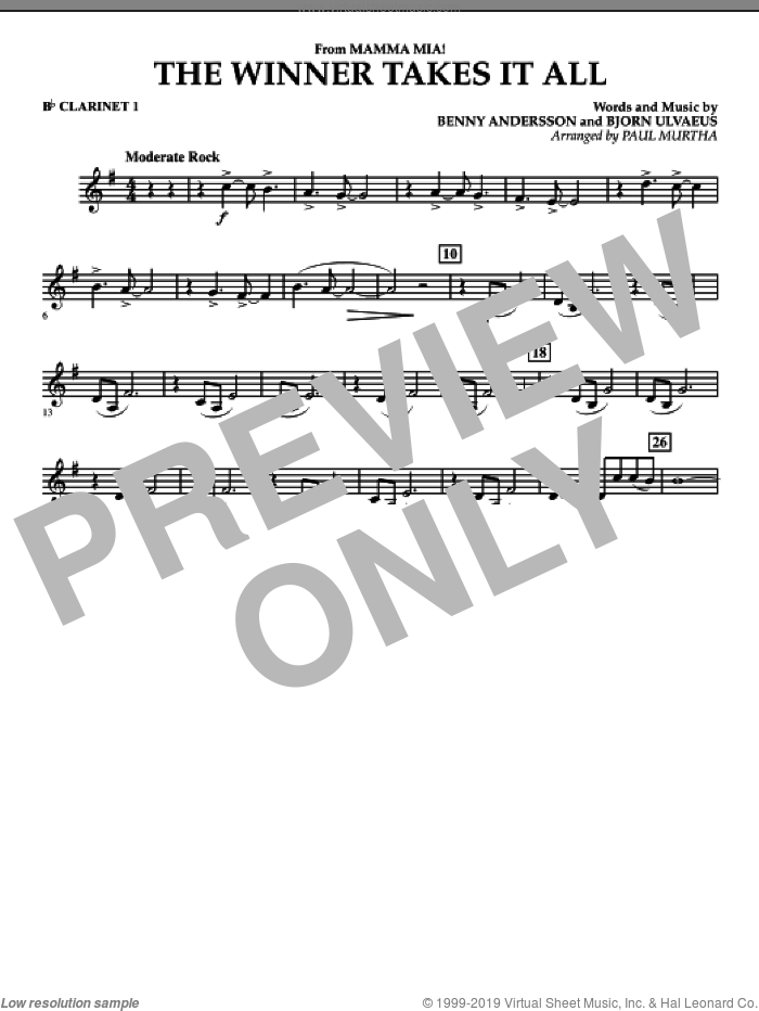 The Winner Takes It All (from 'Mamma Mia!', the motion picture sheet music for concert band (Bb clarinet 1) by Benny Andersson, Bjorn Ulvaeus, Miscellaneous, ABBA and Paul Murtha, intermediate skill level