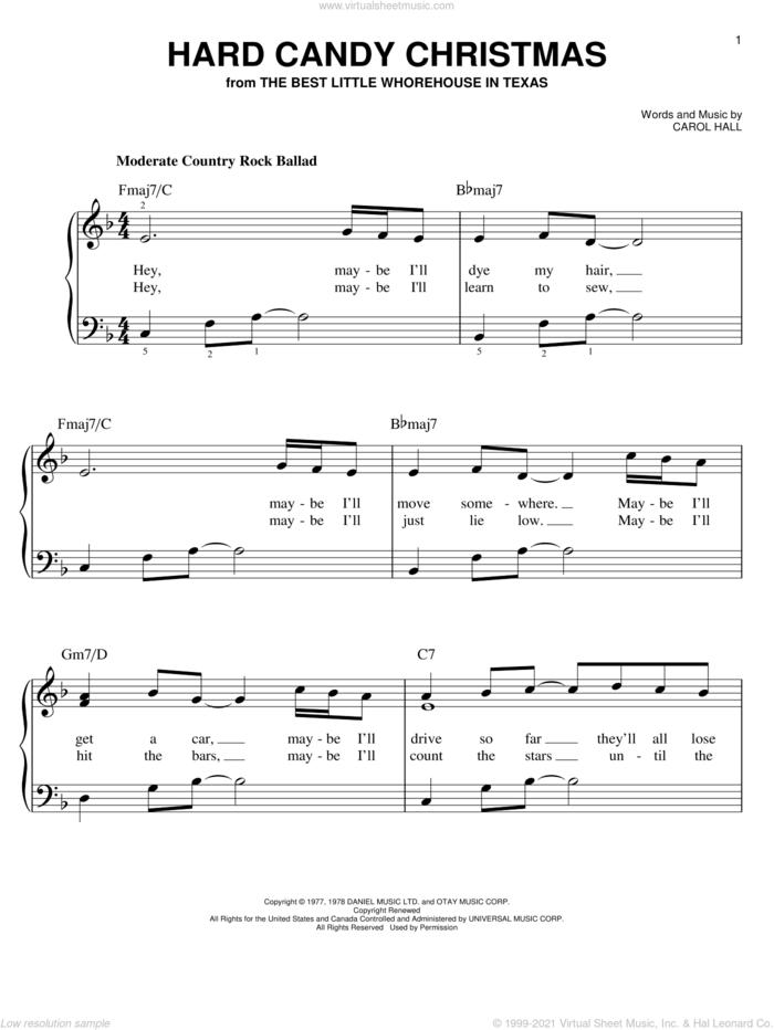 Hard Candy Christmas sheet music for piano solo by Dolly Parton and Carol Hall, easy skill level