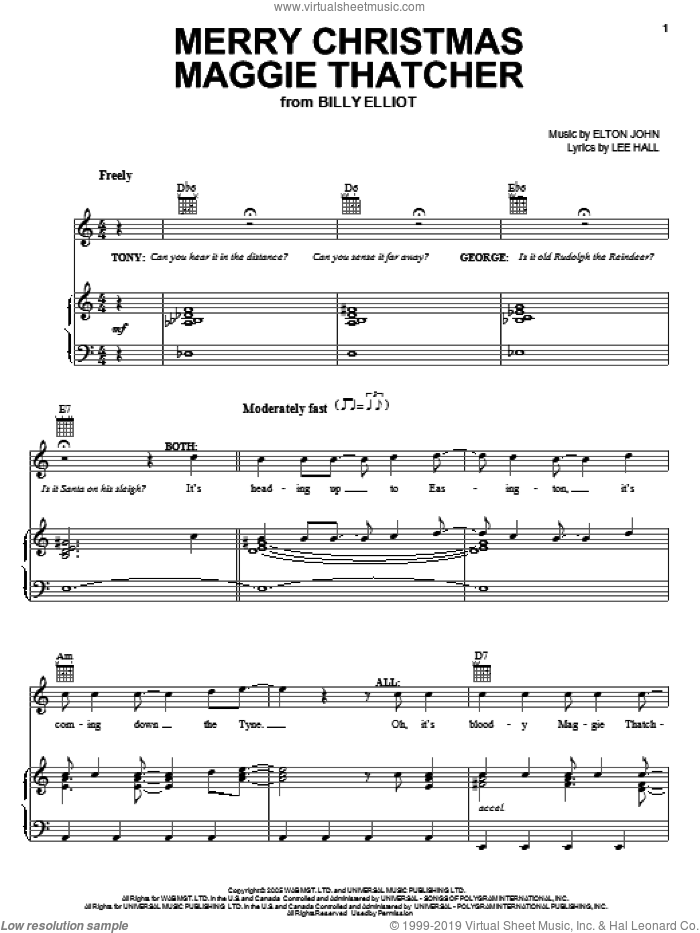Merry Christmas Maggie Thatcher sheet music for voice, piano or guitar by Elton John, Billy Elliot (Musical) and Lee Hall, intermediate skill level