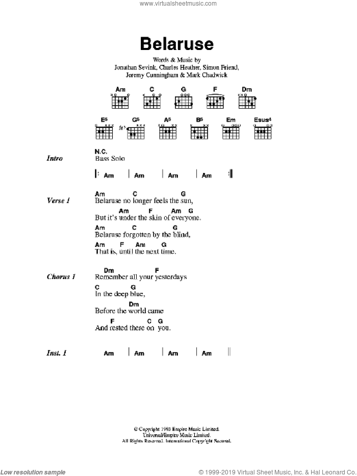 Belaruse sheet music for guitar (chords) by The Levellers, Charles Heather, Jeremy Cunningham, Jonathan Sevink, Mark Chadwick and Simon Friend, intermediate skill level