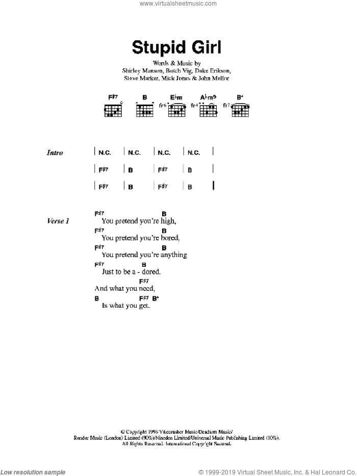 Stupid Girl sheet music for guitar (chords) by Garbage, Butch Vig, Duke Erikson, Shirley Manson and Steve Marker, intermediate skill level