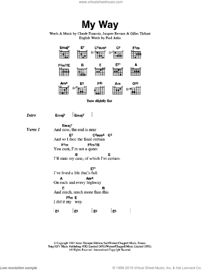 My Way sheet music for guitar (chords) by Sex Pistols, Claude Francois, Gilles Thibaut, Jacques Revaux and Paul Anka, intermediate skill level
