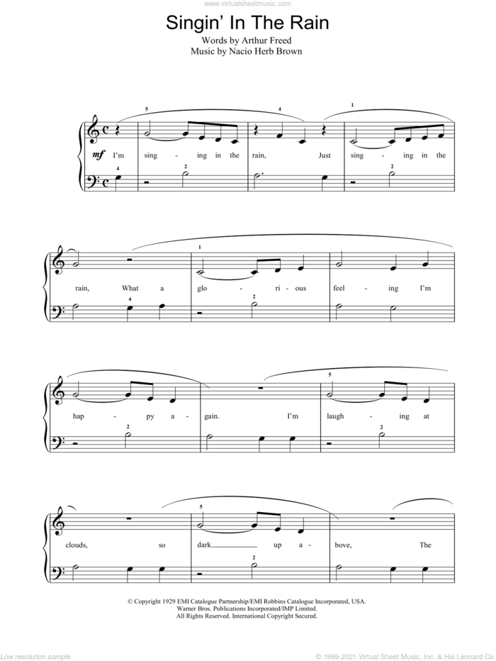Singin' In The Rain sheet music for piano solo by Gene Kelly, Nacio Herb Brown and Arthur Freed, easy skill level