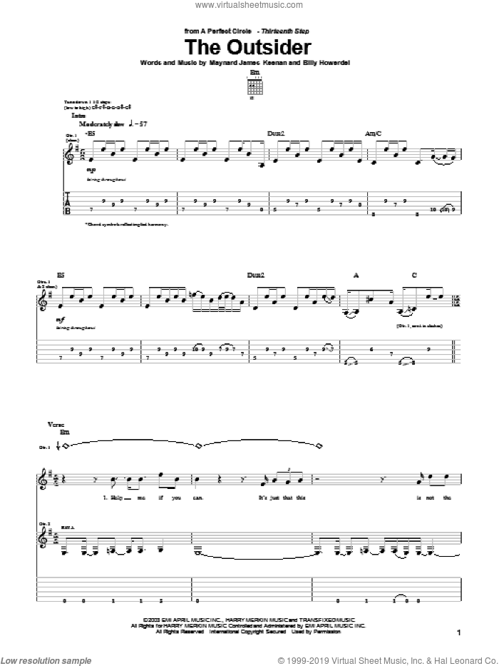 The Outsider sheet music for guitar (tablature) by A Perfect Circle, Billy Howerdel and Maynard James Keenan, intermediate skill level