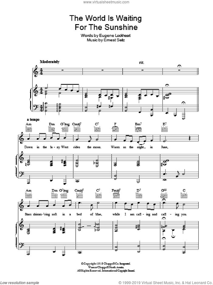 The World Is Waiting For The Sunrise sheet music for voice, piano or guitar by Eugene Lockhart and Ernest Seitz, intermediate skill level