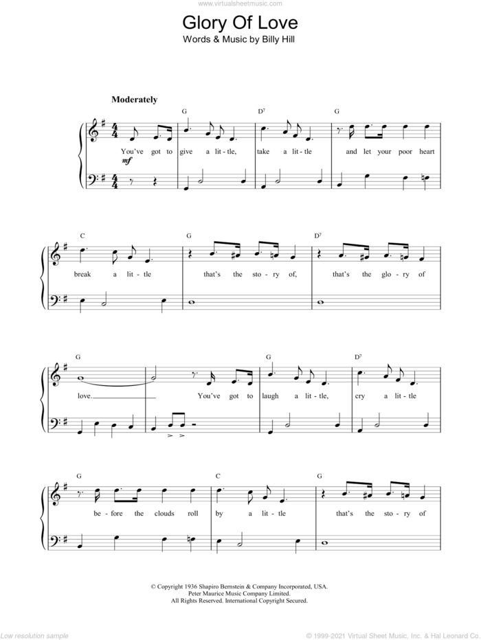The Glory Of Love sheet music for piano solo by Bette Midler and Billy Hill, intermediate skill level