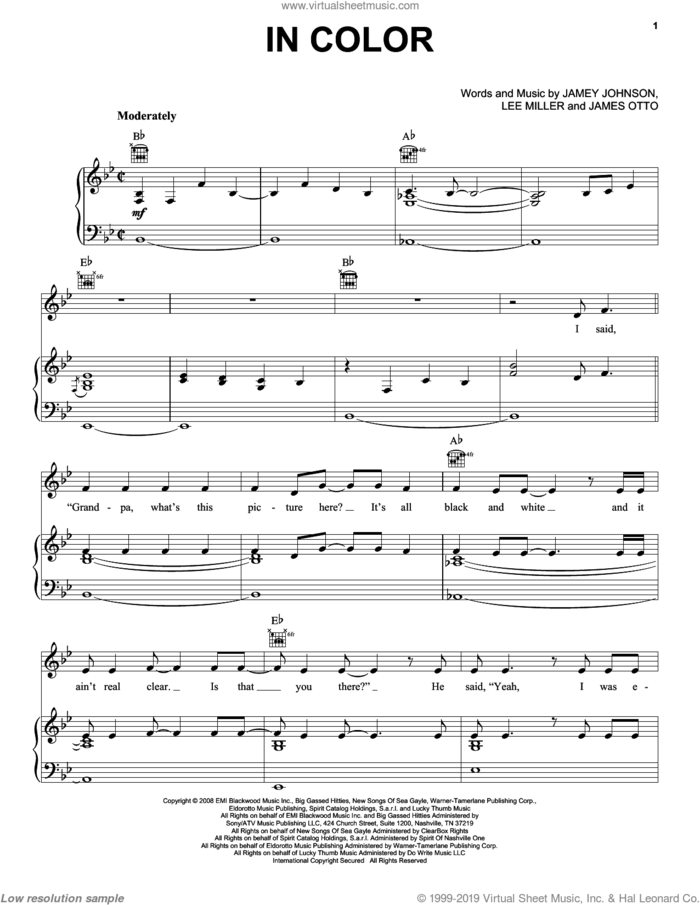 In Color sheet music for voice, piano or guitar by Jamey Johnson, James Otto and Lee Thomas Miller, intermediate skill level