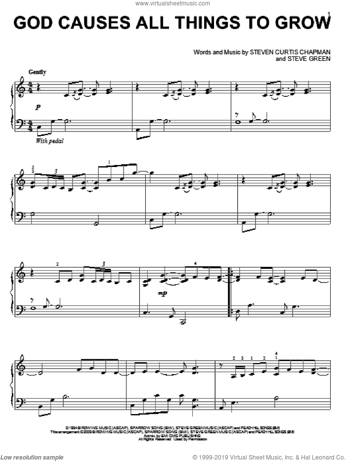 God Causes All Things To Grow sheet music for piano solo by Steven Curtis Chapman and Steve Green, wedding score, intermediate skill level