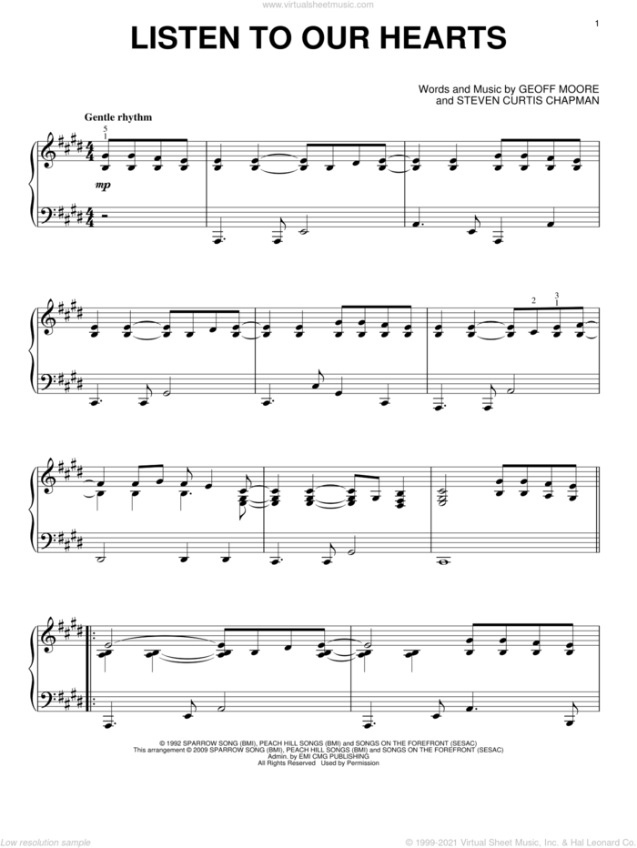 Listen To Our Hearts sheet music for piano solo by Geoff Moore & The Distance, Geoff Moore and Steven Curtis Chapman, wedding score, intermediate skill level