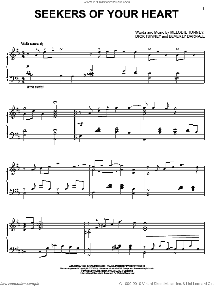 Seekers Of Your Heart sheet music for piano solo by Beverly Darnall, Dick Tunney and Melodie Tunney, wedding score, intermediate skill level