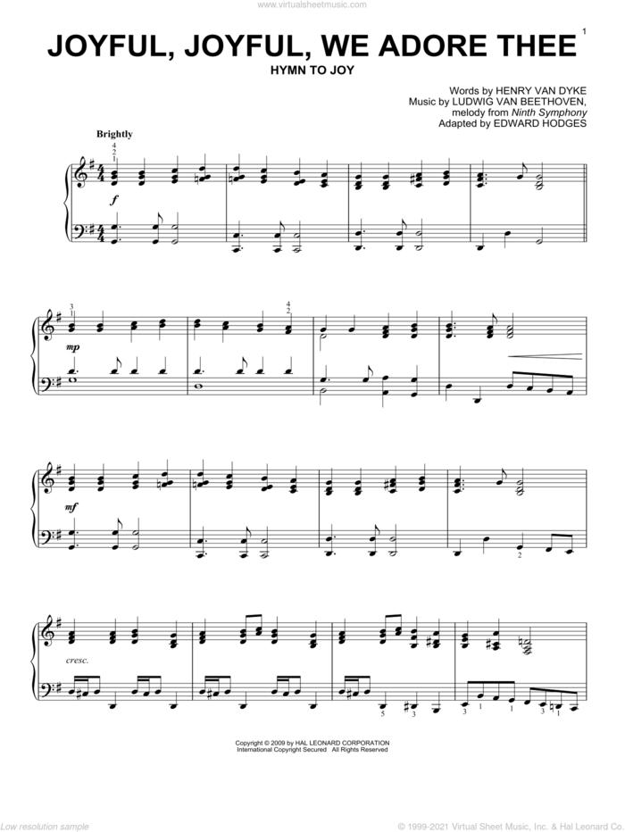 Joyful, Joyful, We Adore Thee sheet music for piano solo by Ludwig van Beethoven, Edward Hodges and Henry van Dyke, classical wedding score, intermediate skill level