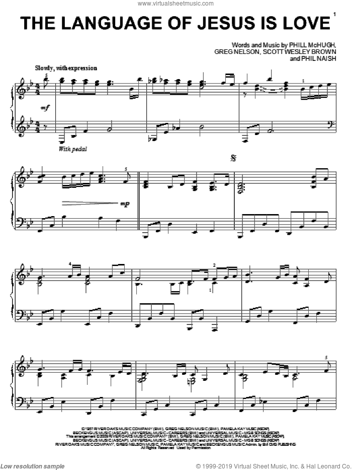 The Language Of Jesus Is Love sheet music for piano solo by Scott Wesley Brown, Greg Nelson, Phil Naish and Phill McHugh, wedding score, intermediate skill level