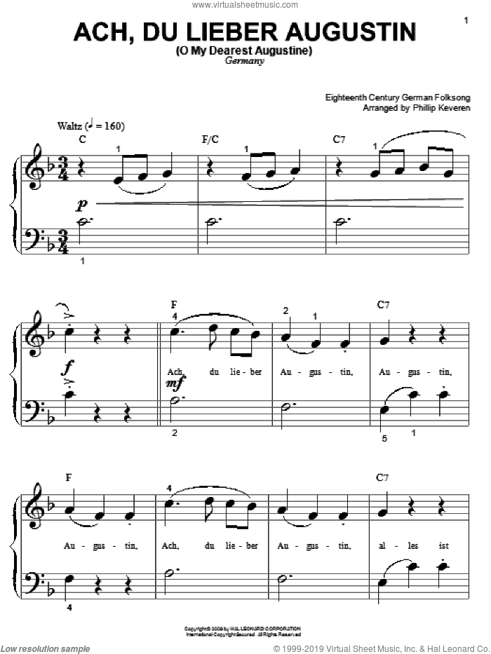 Ach Du Lieber Augustin (O My Dearest Augustine) (arr. Phillip Keveren) sheet music for piano solo (big note book)  and Phillip Keveren, easy piano (big note book)
