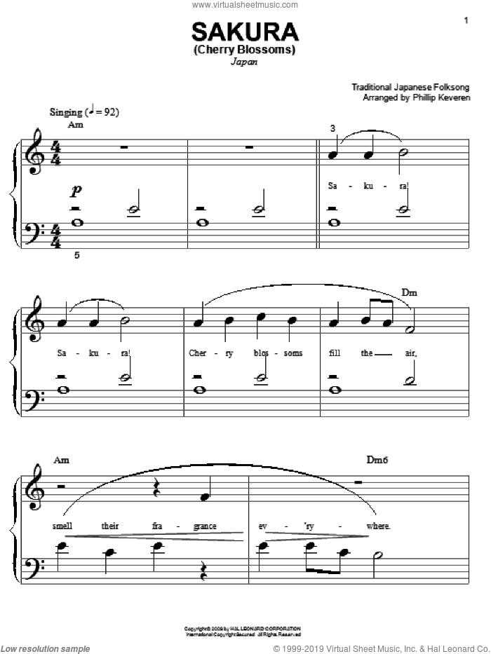 Sakura (Cherry Blossoms) sheet music for piano solo (big note book)  and Phillip Keveren, easy piano (big note book)