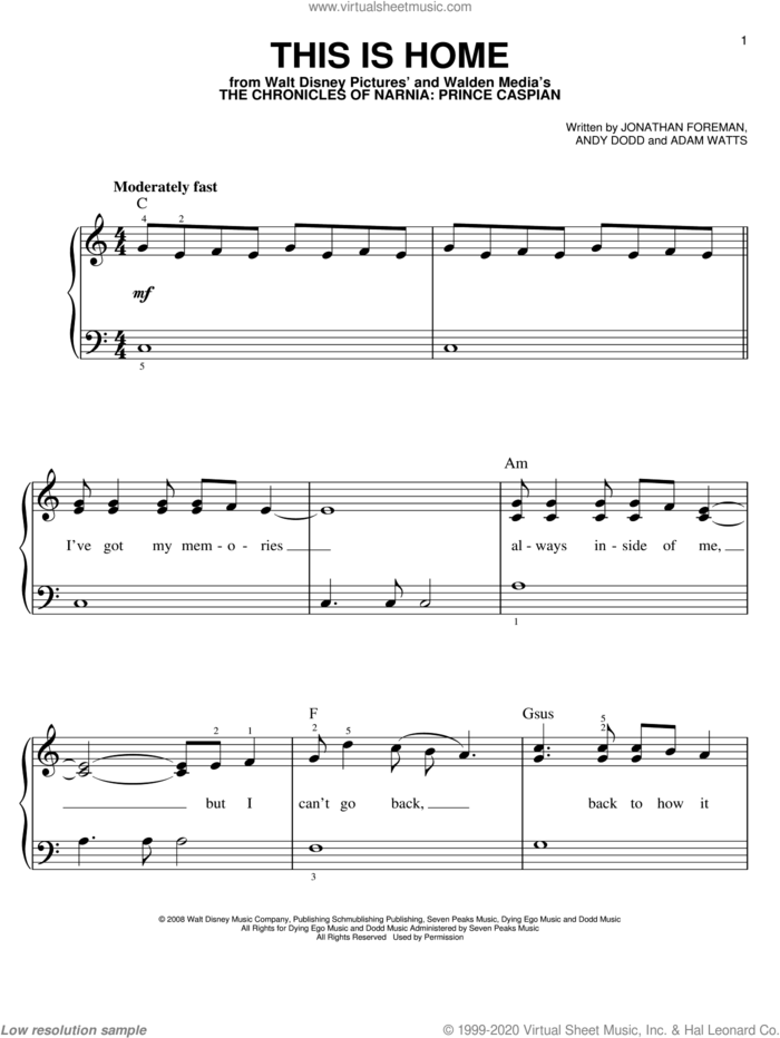 This Is Home sheet music for piano solo by Switchfoot, Adam Watts, Andy Dodd and Jonathan Foreman, easy skill level
