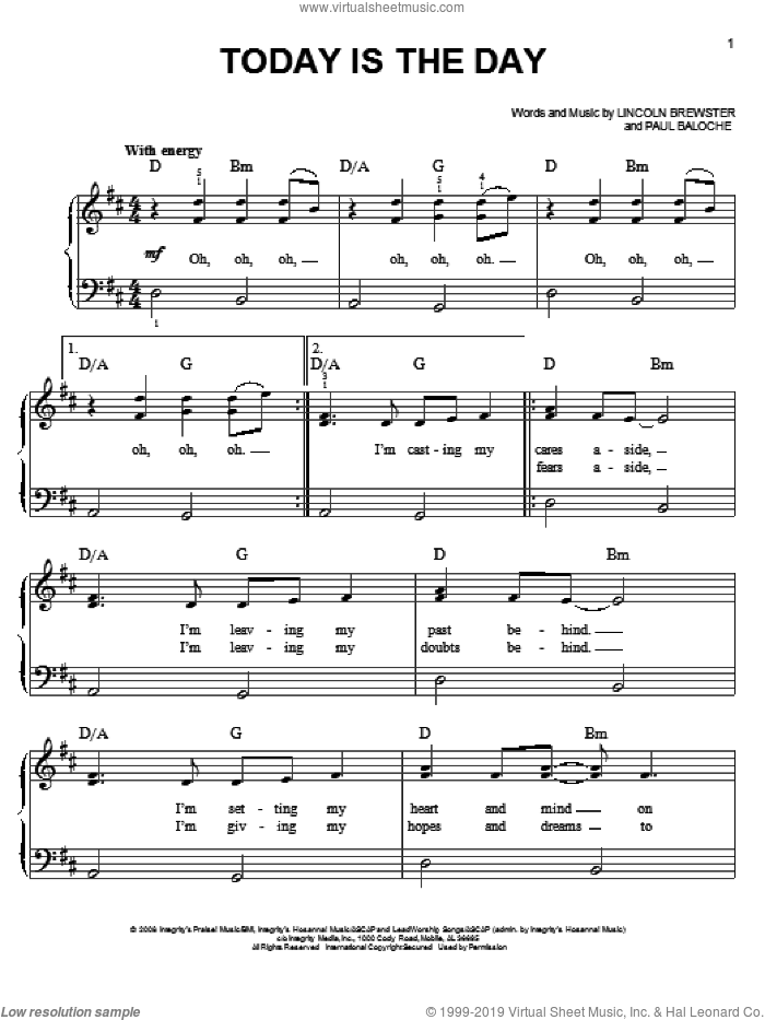 Today Is The Day sheet music for piano solo by Lincoln Brewster and Paul Baloche, easy skill level
