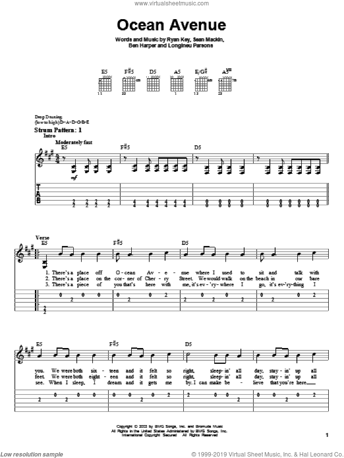 Ocean Avenue sheet music for guitar solo (easy tablature) by Yellowcard, Ben Harper, Longineu Parsons, Ryan Key and Sean Mackin, easy guitar (easy tablature)