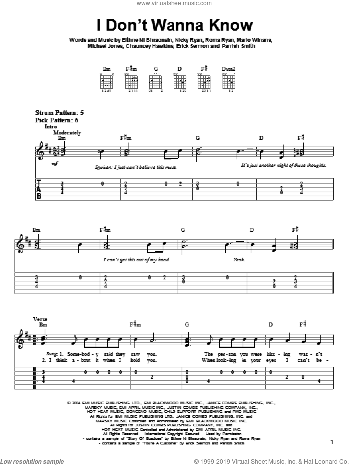 I Don't Wanna Know sheet music for guitar solo (easy tablature) by Mario Winans, Enya, P. Diddy, Chauncey Hawkins, Eithne Ni Bhraonain, Erick Sermon, Michael Jones, Nicky Ryan, Parrish Smith and Roma Ryan, easy guitar (easy tablature)