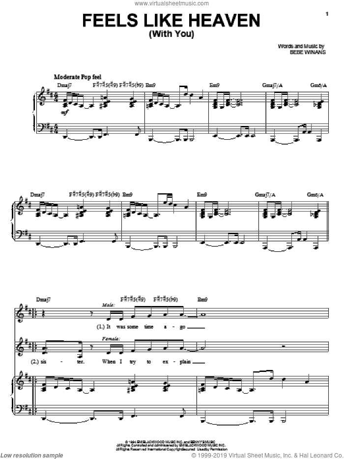 Feels Like Heaven (With You) sheet music for voice, piano or guitar by BeBe & CeCe Winans and BeBe Winans, wedding score, intermediate skill level