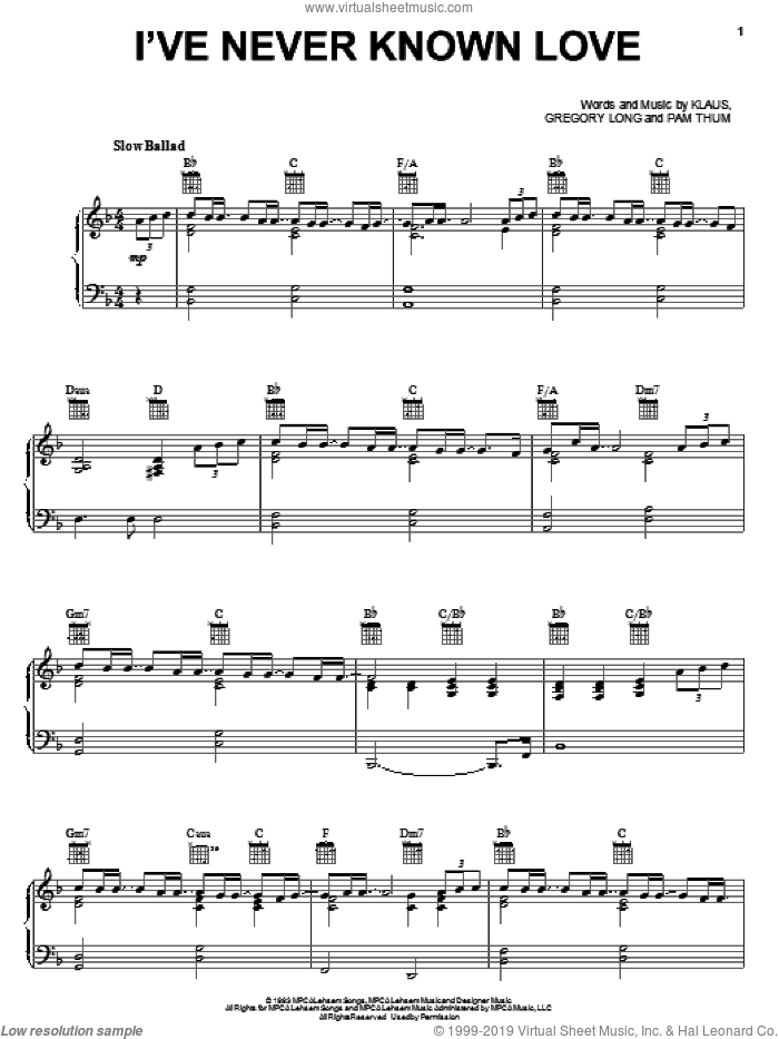 I've Never Known Love sheet music for voice, piano or guitar by Pam Thum and Gregory Long, wedding score, intermediate skill level