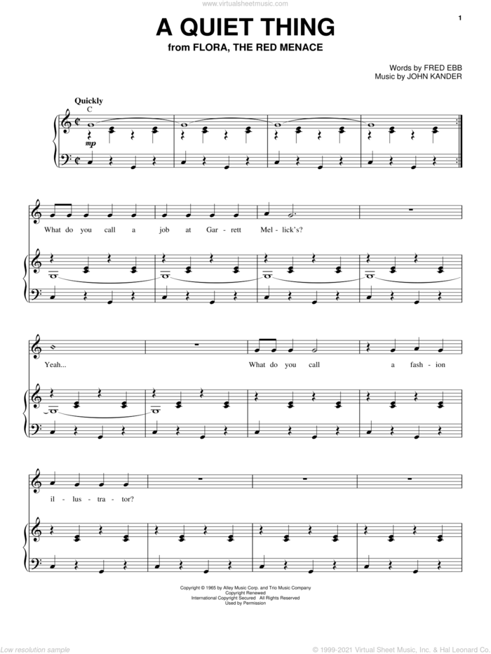 A Quiet Thing sheet music for voice and piano by Liza Minnelli, Kander & Ebb, Fred Ebb and John Kander, intermediate skill level