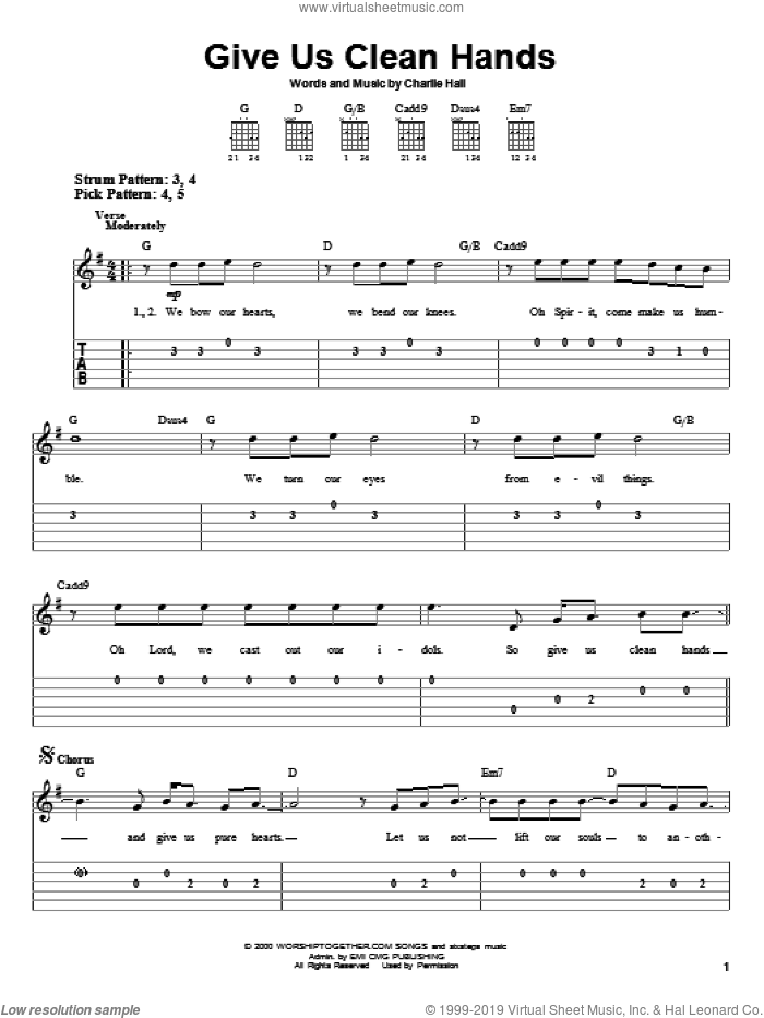 Give Us Clean Hands sheet music for guitar solo (easy tablature) by Chris Tomlin and Charlie Hall, easy guitar (easy tablature)