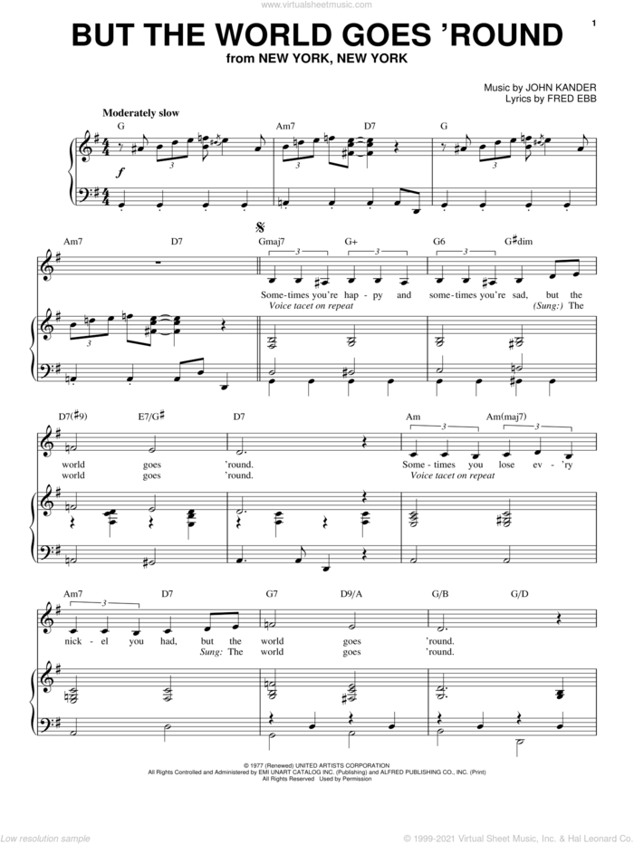 But The World Goes 'Round sheet music for voice and piano by Liza Minnelli, Kander & Ebb, Fred Ebb and John Kander, intermediate skill level
