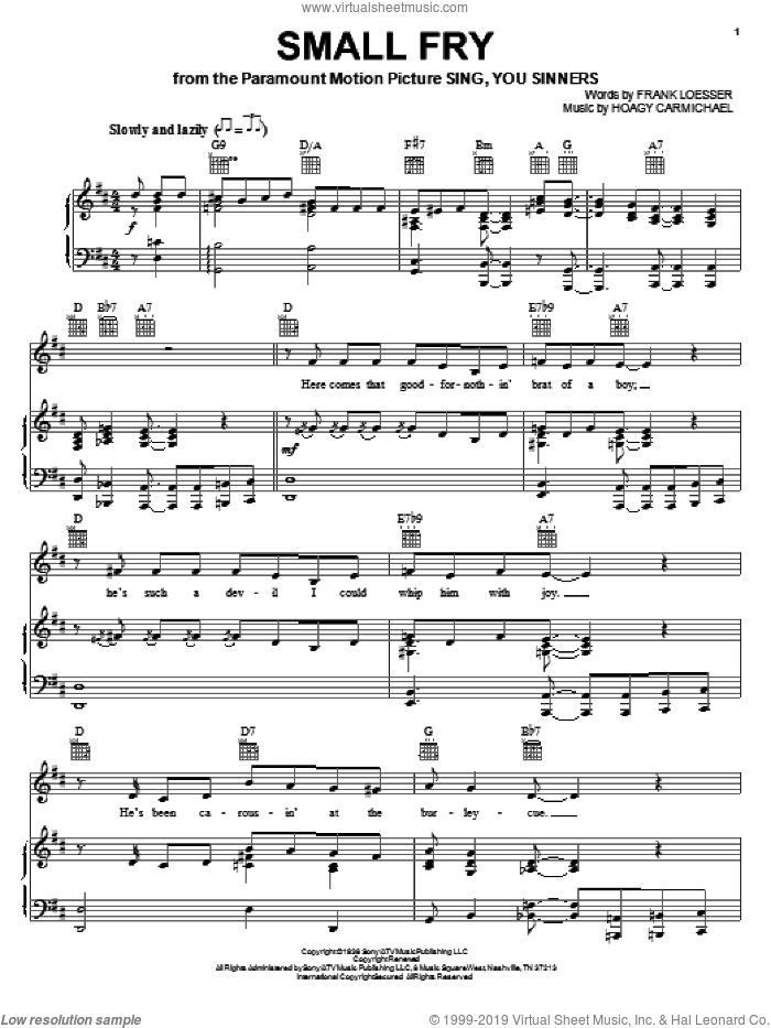 Small Fry sheet music for voice, piano or guitar by Hoagy Carmichael and Frank Loesser, intermediate skill level