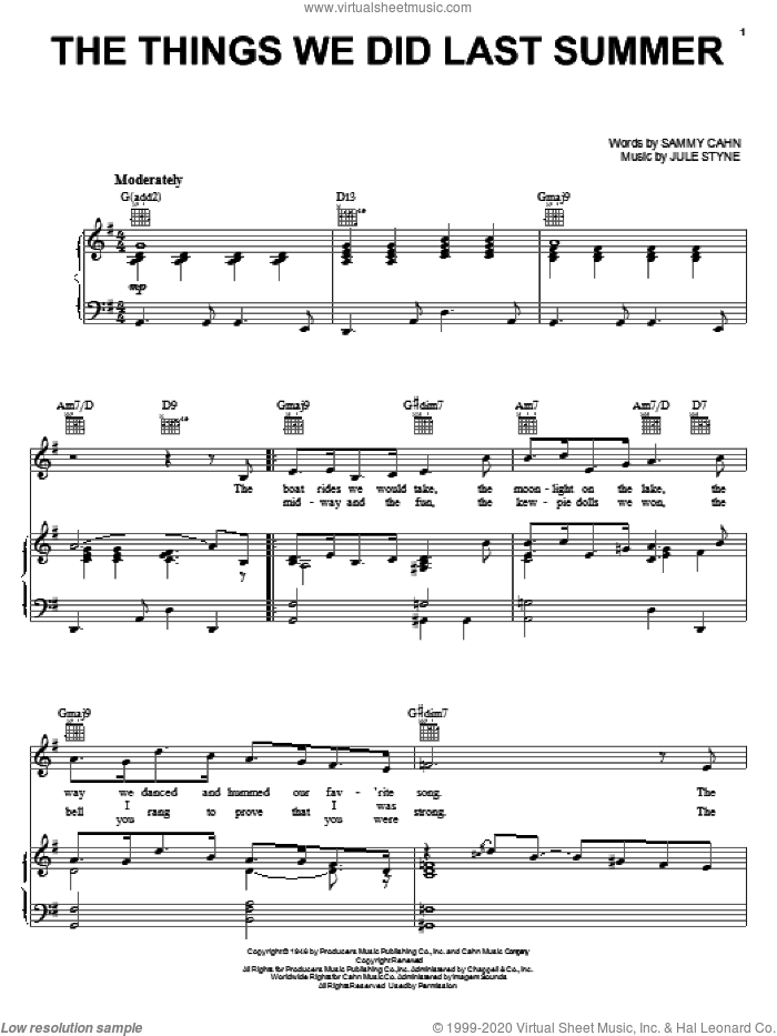 The Things We Did Last Summer sheet music for voice, piano or guitar by Frank Sinatra, Dean Martin, Jo Stafford, Jule Styne and Sammy Cahn, intermediate skill level