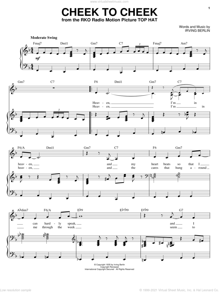 Cheek To Cheek sheet music for voice and piano by Ella Fitzgerald and Irving Berlin, intermediate skill level