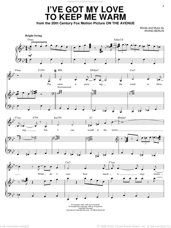 I've Got My Love To Keep Me Warm sheet music for voice and piano by Ella Fitzgerald, Frank Sinatra and Irving Berlin, intermediate skill level