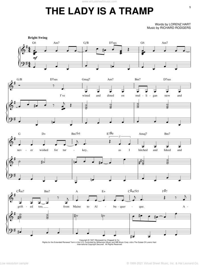 The Lady Is A Tramp sheet music for voice and piano by Ella Fitzgerald, Frank Sinatra, Lena Horne, Rodgers & Hart, Lorenz Hart and Richard Rodgers, intermediate skill level