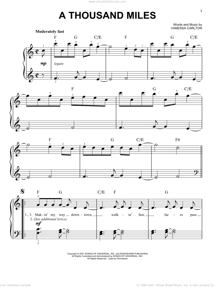 A Thousand Miles, (easy) sheet music for piano solo by Vanessa Carlton, easy skill level