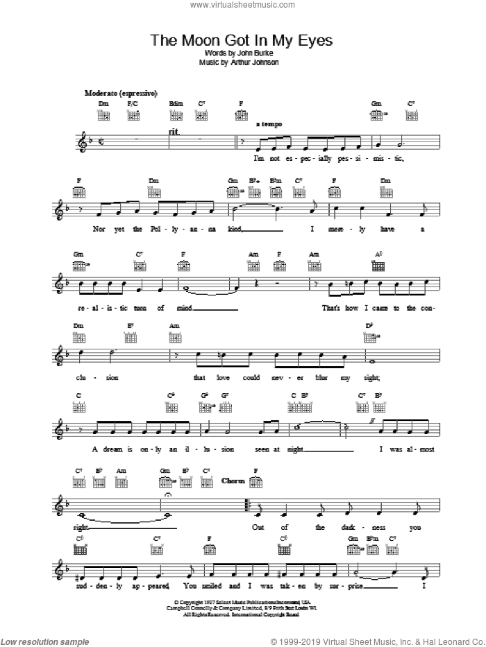 The Moon Got In My Eyes sheet music for voice and other instruments (fake book) by Bing Crosby, intermediate skill level